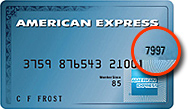 For American Express cards, the security code is the last 4 digits on the front of the card. It is separate from the actual credit card number.
